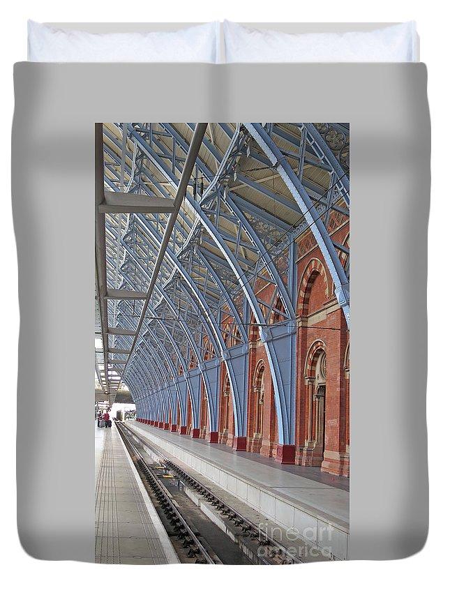 London Duvet Cover featuring the photograph London St Pancras by Ann Horn