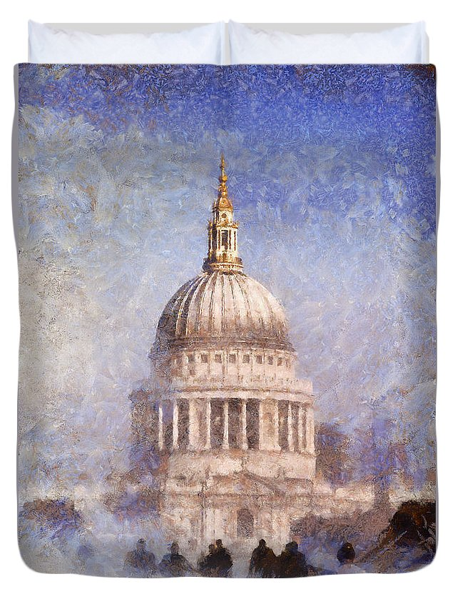 London Duvet Cover featuring the painting London St Pauls Fog 02 by Pixel Chimp