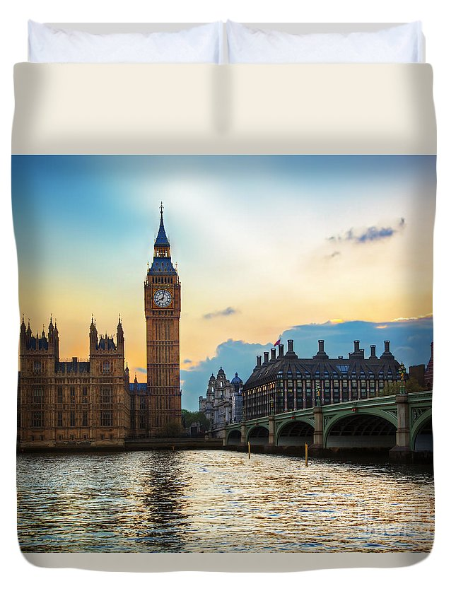 London Duvet Cover featuring the photograph London Uk Big Ben The Palace Of Westminster At Sunset by Michal Bednarek