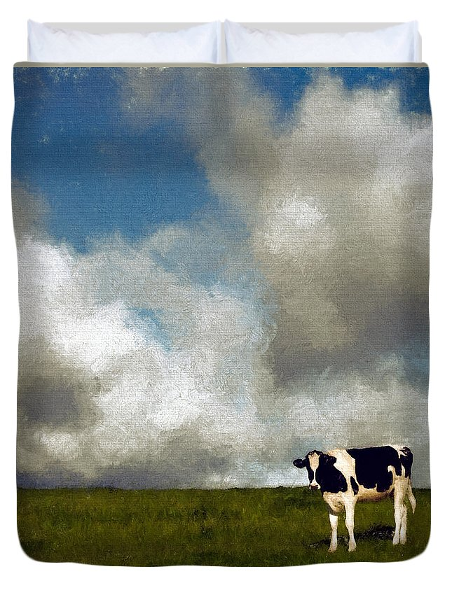 Cow Duvet Cover featuring the mixed media Lone Cow by John K Woodruff