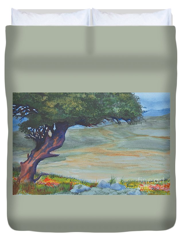 Tree Duvet Cover featuring the painting Lone Mahgoney by Davina Parypa