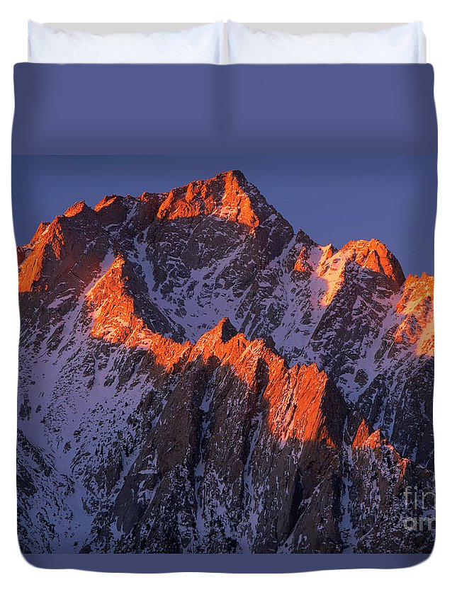 Alabama Hills Duvet Cover featuring the photograph Lone Pine Peak - February by Inge Johnsson