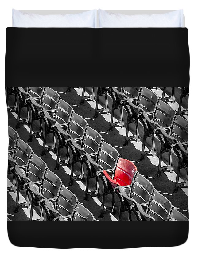 #21 Duvet Cover featuring the photograph Lone Red Number 21 Fenway Park Bw by Susan Candelario