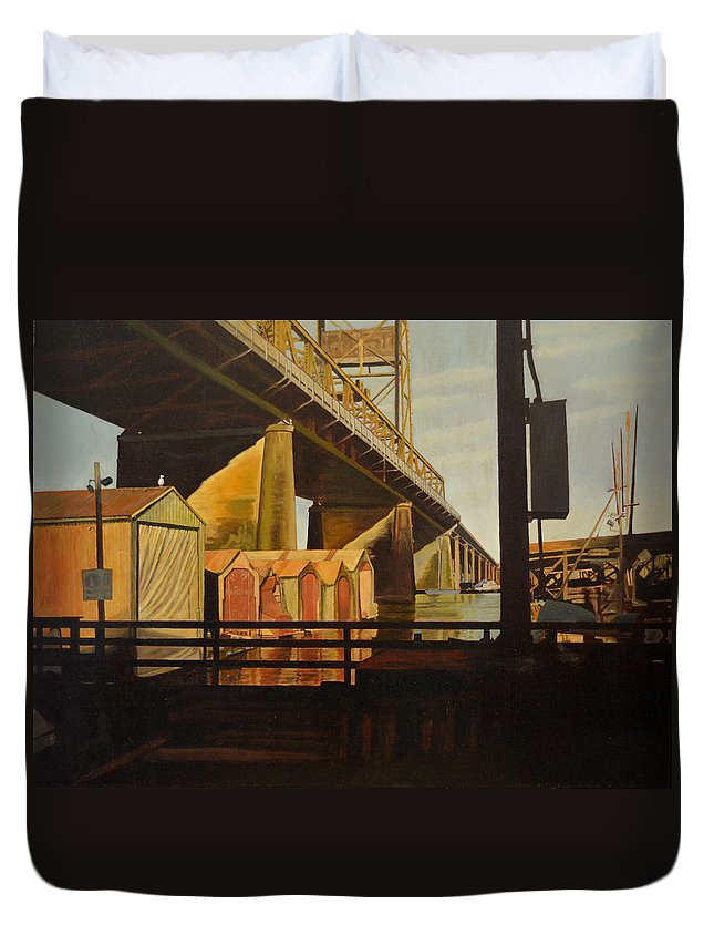 Bridge Duvet Cover featuring the painting Lone Seagull by Thu Nguyen