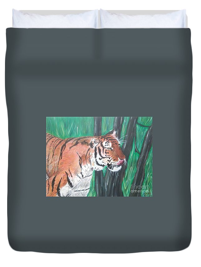 Animals Duvet Cover featuring the painting Lone Tiger by Tyrell Wade