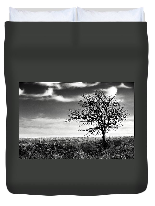 Tree Duvet Cover featuring the photograph Lone Tree 2 by Eric Benjamin
