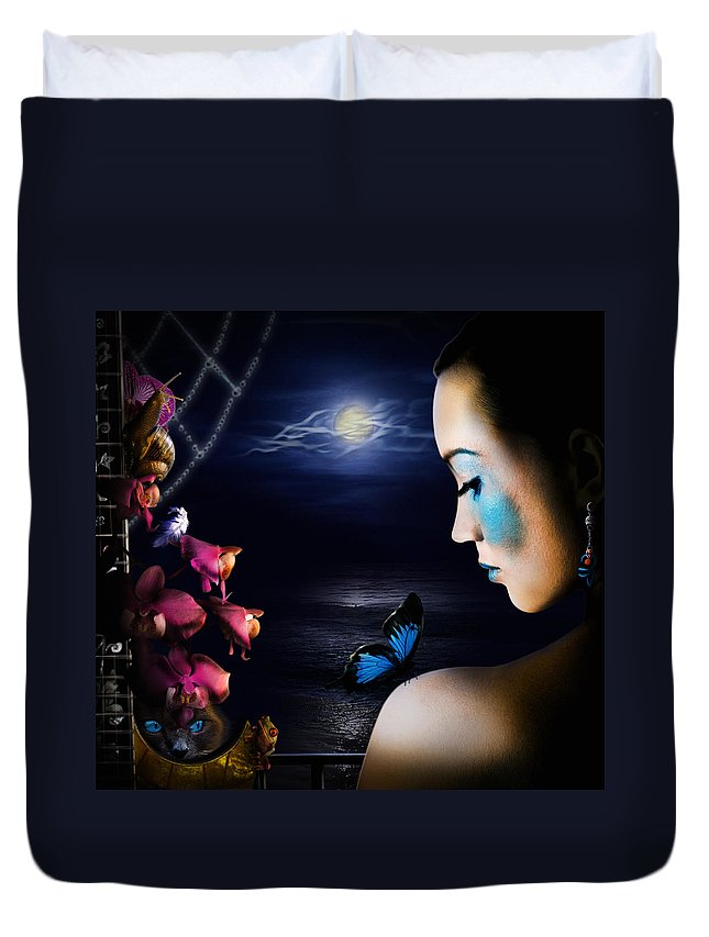 Lonely Duvet Cover featuring the digital art Lonely Blue Princess And The Villains by Alessandro Della Pietra