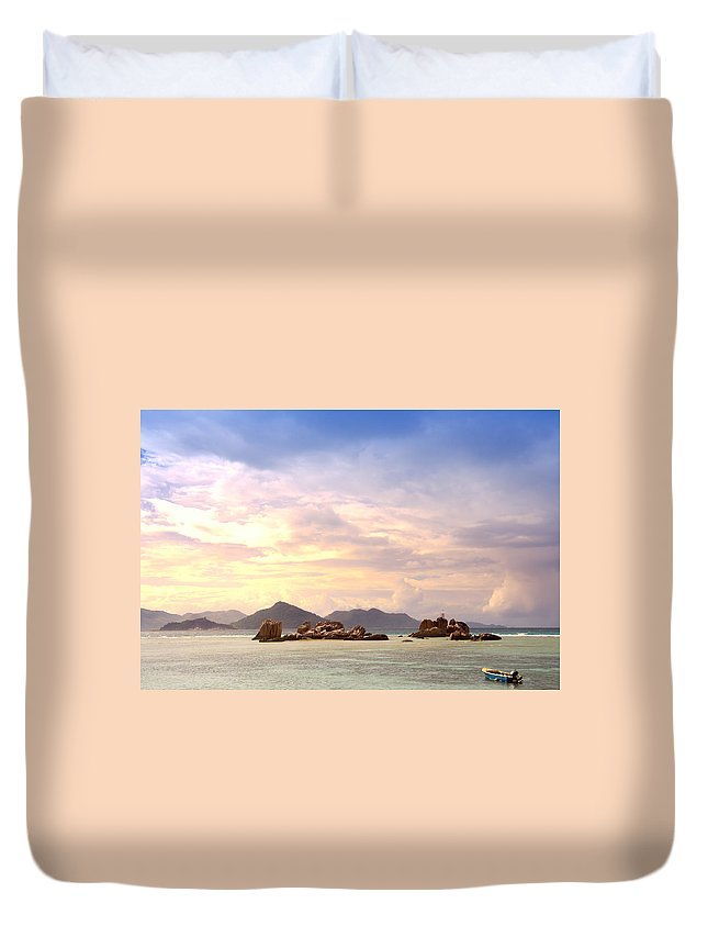 Landscape Duvet Cover featuring the photograph Lonely Boat by Alexey Stiop