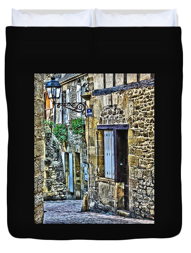 French Village Duvet Cover featuring the digital art Lonely Lane In Sarlat France by Greg Matchick