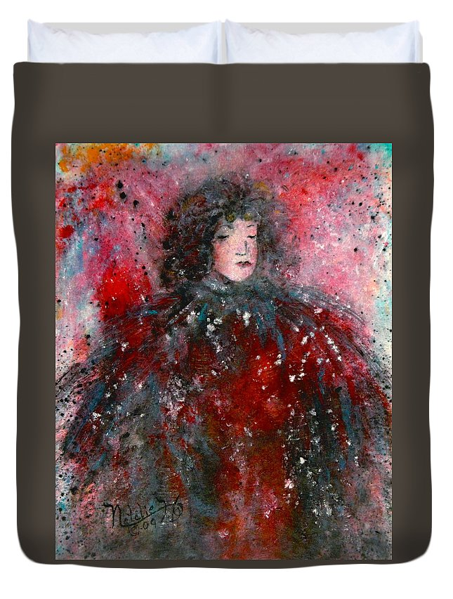Millionairess Duvet Cover featuring the painting Lonely Millionairess by Natalie Holland