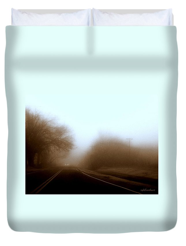 Fog Duvet Cover featuring the photograph Lonely Road With Fog by Bob and Kathy Frank
