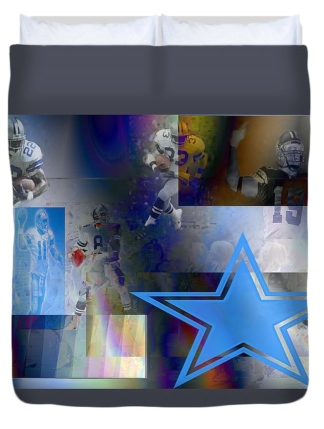 Dallas Cowboys Duvet Cover featuring the digital art Lonestar Legends by Jimi Bush