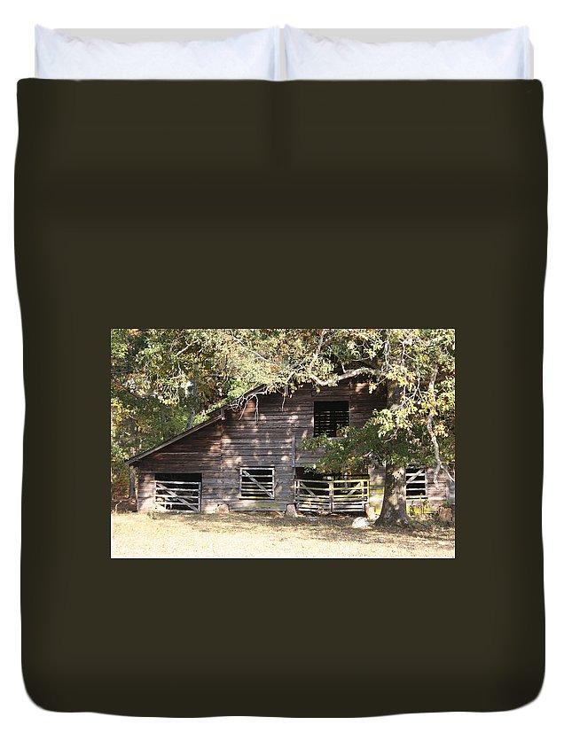 Barn Duvet Cover featuring the photograph Long Ago by Jean Blackmer