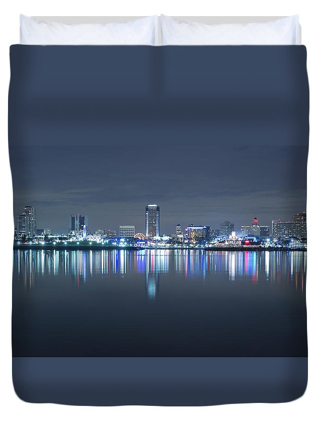 America Duvet Cover featuring the photograph Long Beach Skyline by Heidi Smith