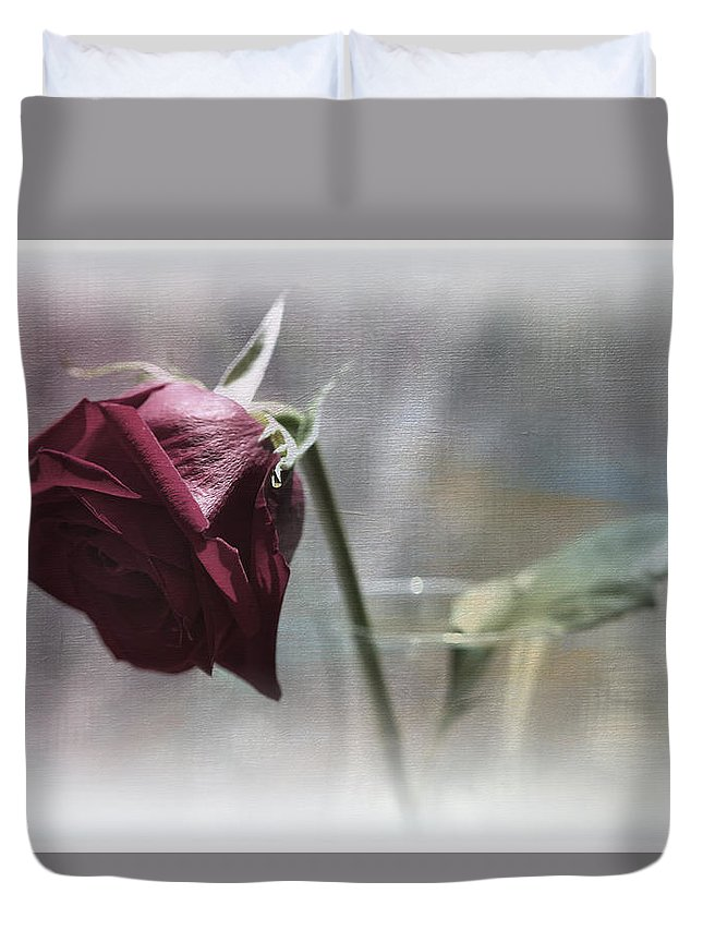 Botanicals Duvet Cover featuring the photograph Red Rose Still Life by Linda Dunn