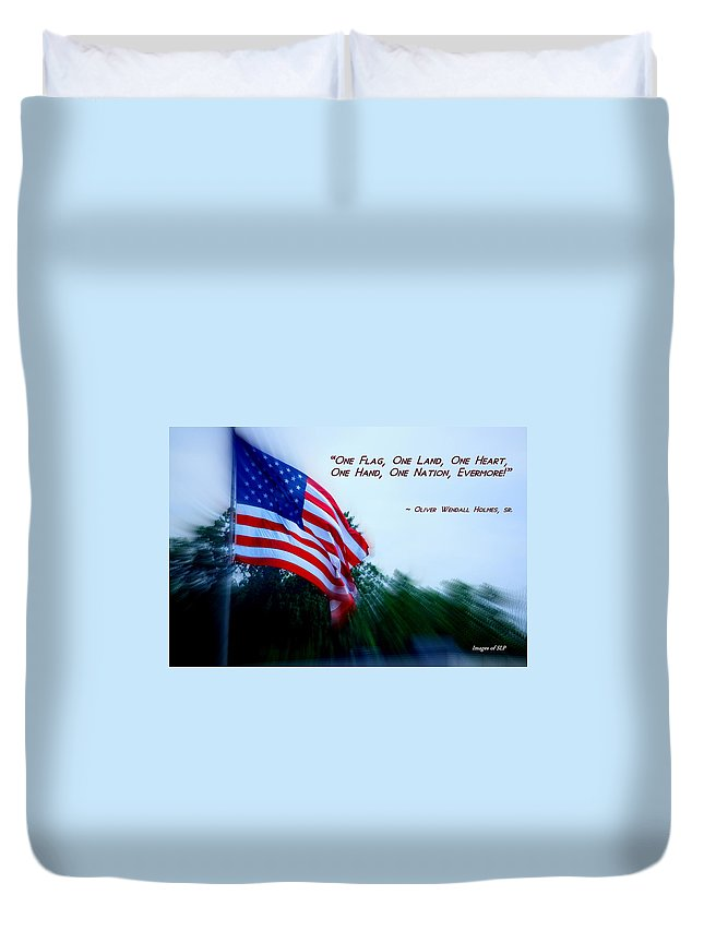 Flag Duvet Cover featuring the photograph Long May It Wave by Scott Polley