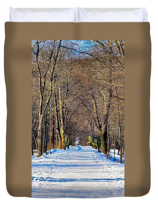 Winter Duvet Cover featuring the photograph Long Path Ahead by Art Dingo