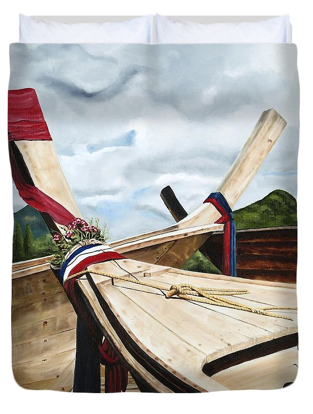 Art Duvet Cover featuring the painting Long Tail Boats Of Krabi by Mary Rogers