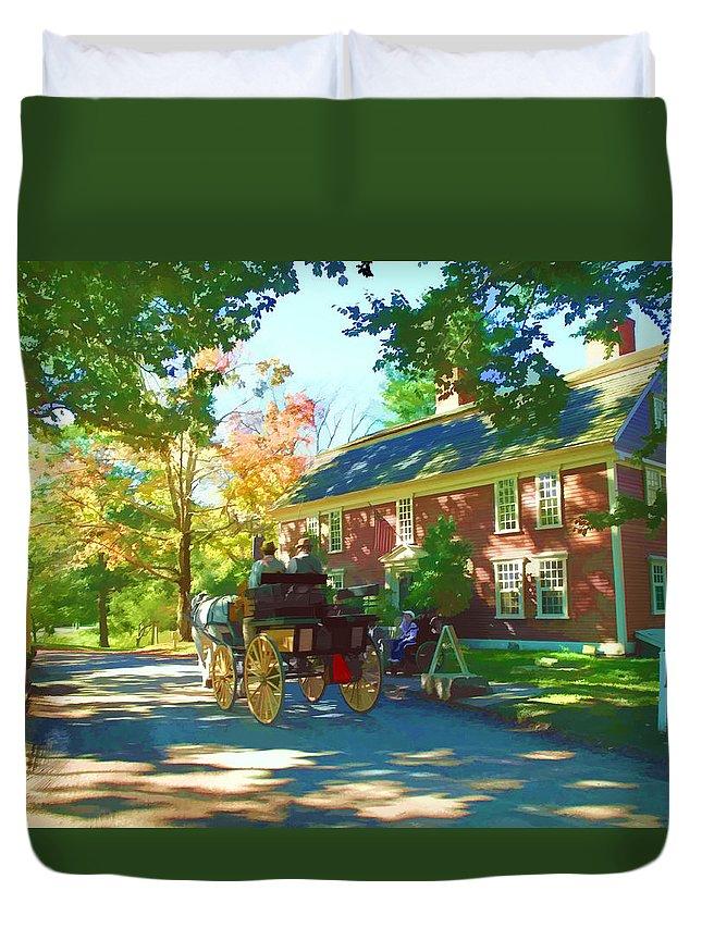 Landscape Duvet Cover featuring the digital art Longfellows Wayside Inn by Barbara McDevitt