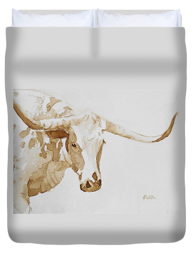 Coffee Duvet Cover featuring the painting Longhorn by Judy Fischer Walton