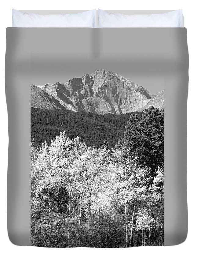 Longs Peak Duvet Cover featuring the photograph Longs Peak Autumn Scenic Bw View by James BO Insogna