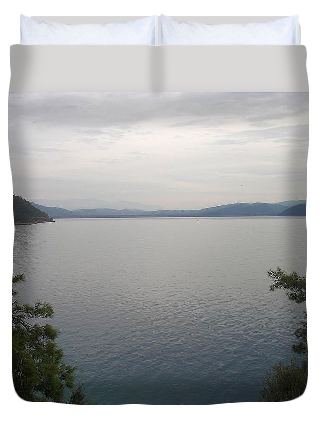 Akyaka Duvet Cover featuring the photograph Looking Back At Gokova And Peaks Of Snow by Tracey Harrington-Simpson