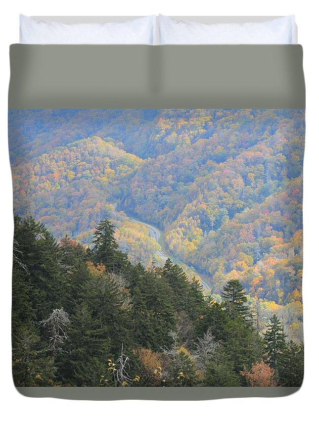 Looking Down On Autumn From The Top Of Smoky Mountains Duvet Cover featuring the photograph Looking Down On Autumn From The Top Of Smoky Mountains by Dan Sproul