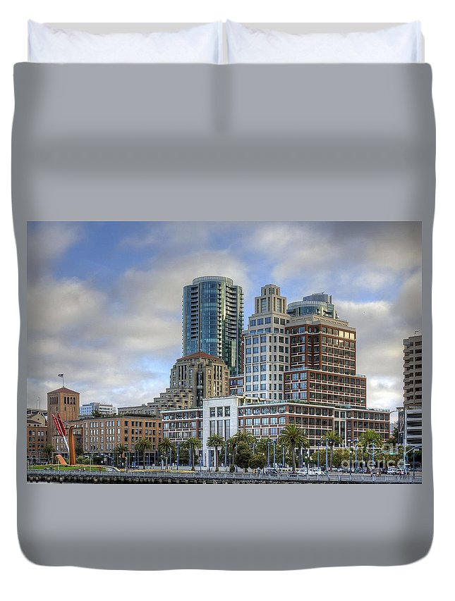 Kate Brown Duvet Cover featuring the photograph Looking Downtown by Kate Brown