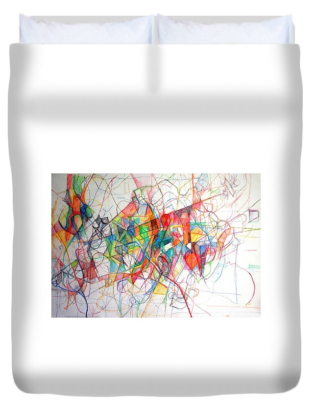 Torah Duvet Cover featuring the drawing Tzadik15 by David Baruch Wolk