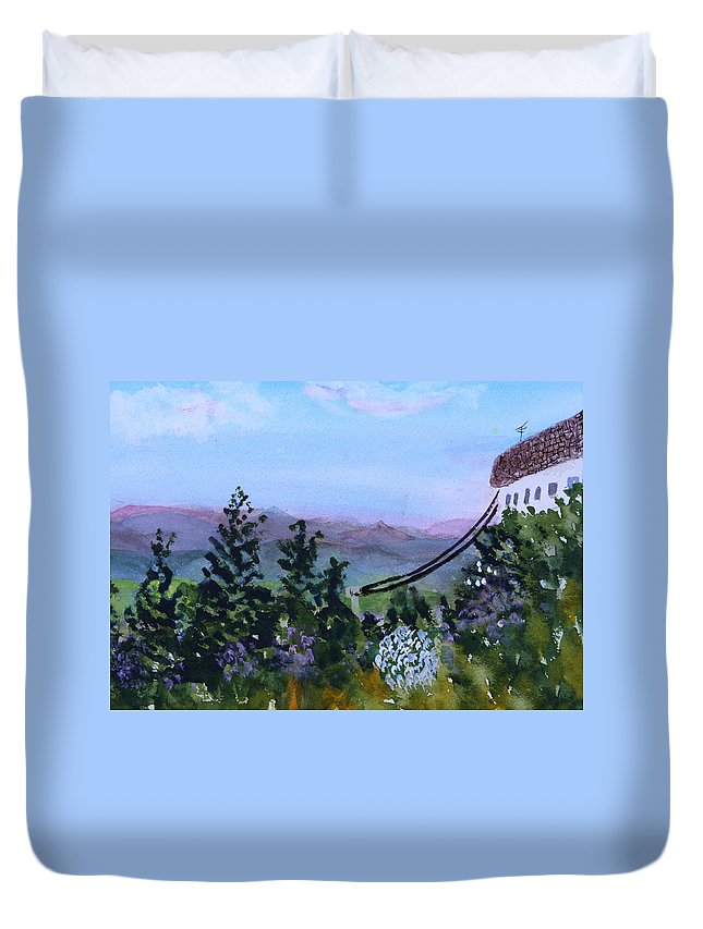 Mountain Duvet Cover featuring the painting Looking Out From Top Of Jay Peak by Donna Walsh