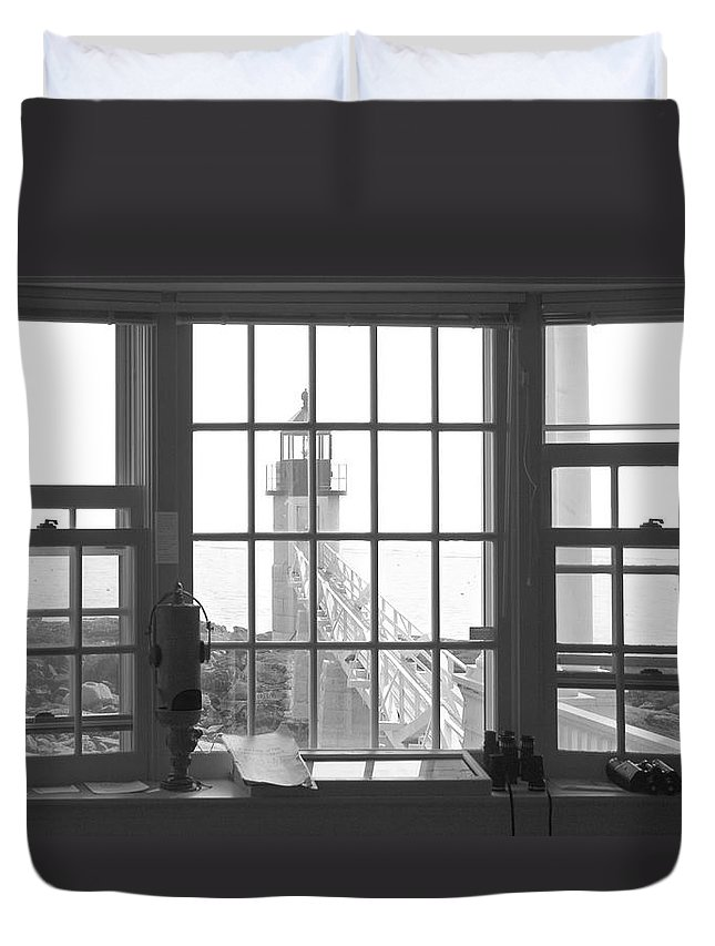 Maine Duvet Cover featuring the photograph Looking Out by Mike McGlothlen