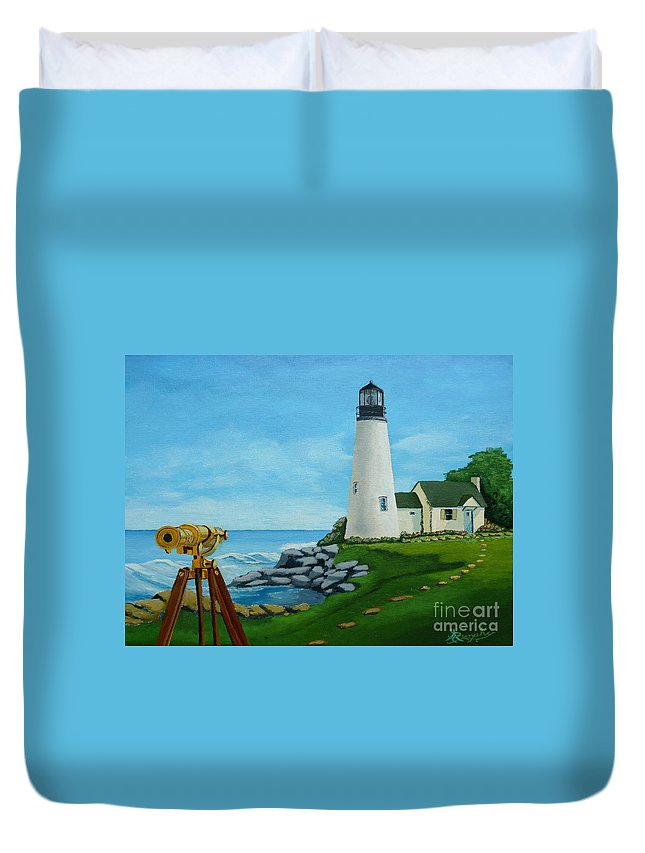 Lighthouse Duvet Cover featuring the painting Looking Out To Sea by Anthony Dunphy