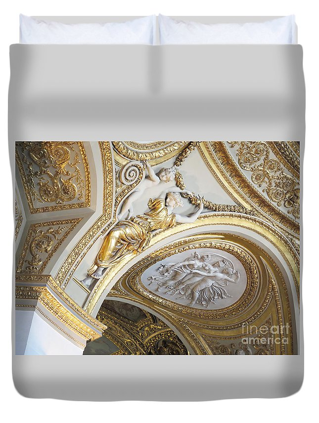 Paris Duvet Cover featuring the photograph Looking Up In The Louvre by Ann Horn