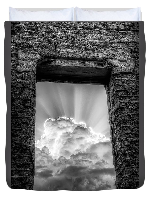 Ruin Ruins Abandoned Window Clouds Adobe Sky Cloud Rain looking Up ghost Town Bw black And White Sky Nm new Mexico Sw Southwest Southwestern roch Hart Duvet Cover featuring the photograph Looking Up by Roch Hart