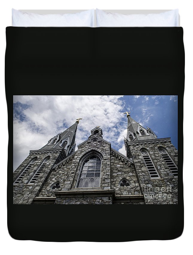 Church Duvet Cover featuring the photograph Looking Upwards by Judy Wolinsky