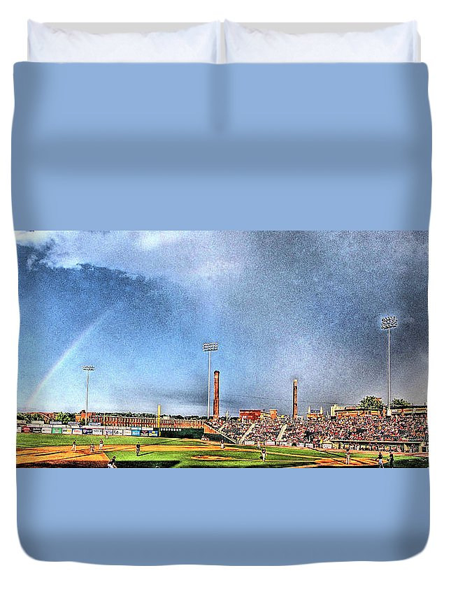 Baseball Duvet Cover featuring the photograph Looks Like Rain by C H Apperson