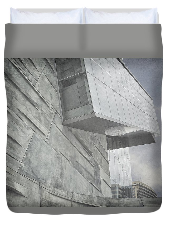 Museum Duvet Cover featuring the photograph Looming by Joan Carroll