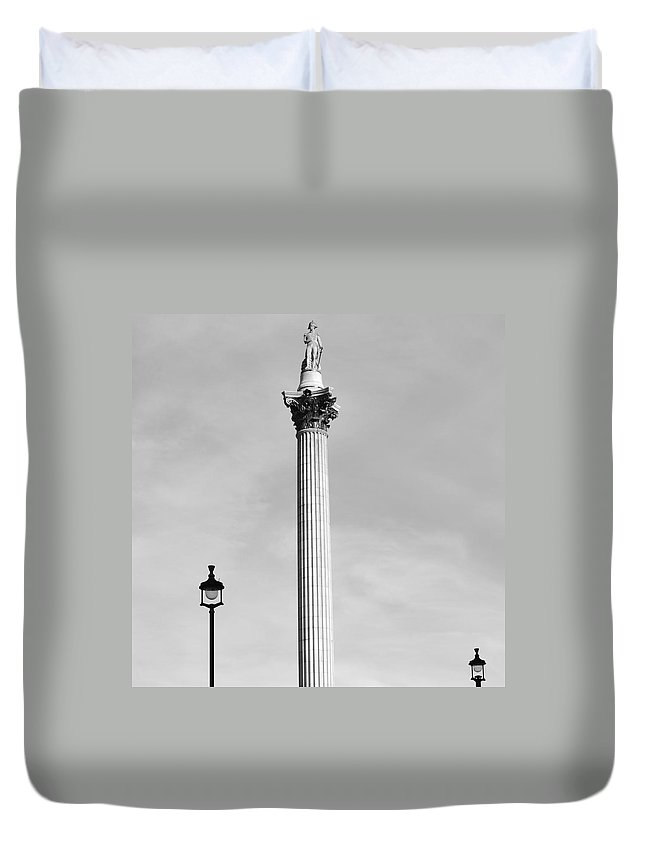 London Duvet Cover featuring the photograph Lord Nelson by Cheryl Miller