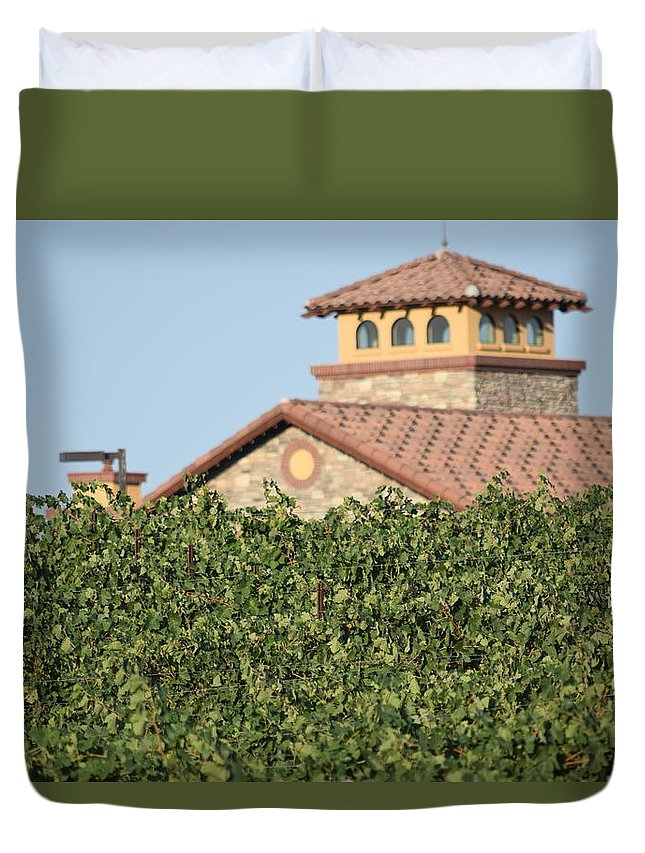 Lorimar Winery Duvet Cover featuring the photograph Lorimar Above The Vines by Steve Scheunemann
