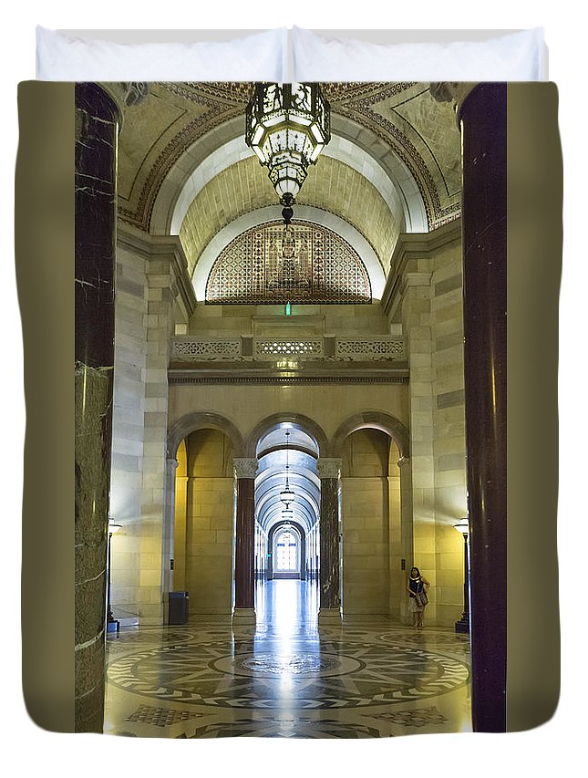 Los Angeles City Hall Duvet Cover featuring the photograph Los Angeles City Hall Rotunda And Hall by Belinda Greb
