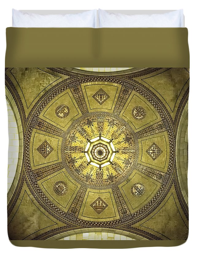 Los Angeles City Hall Duvet Cover featuring the photograph Los Angeles City Hall Rotunda Ceiling by Belinda Greb
