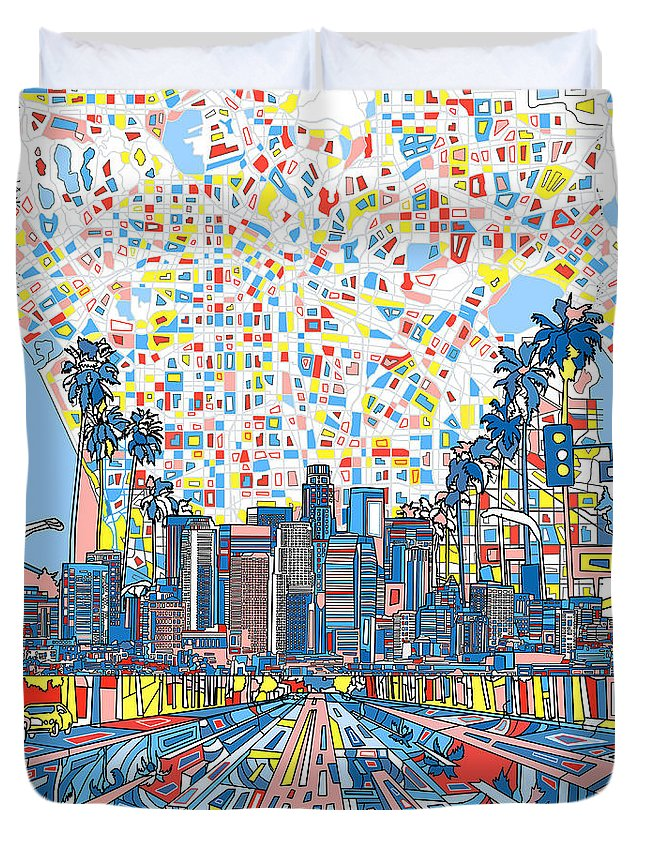 Los Angeles Duvet Cover featuring the painting Los Angeles Skyline Abstract 3 by Bekim Art