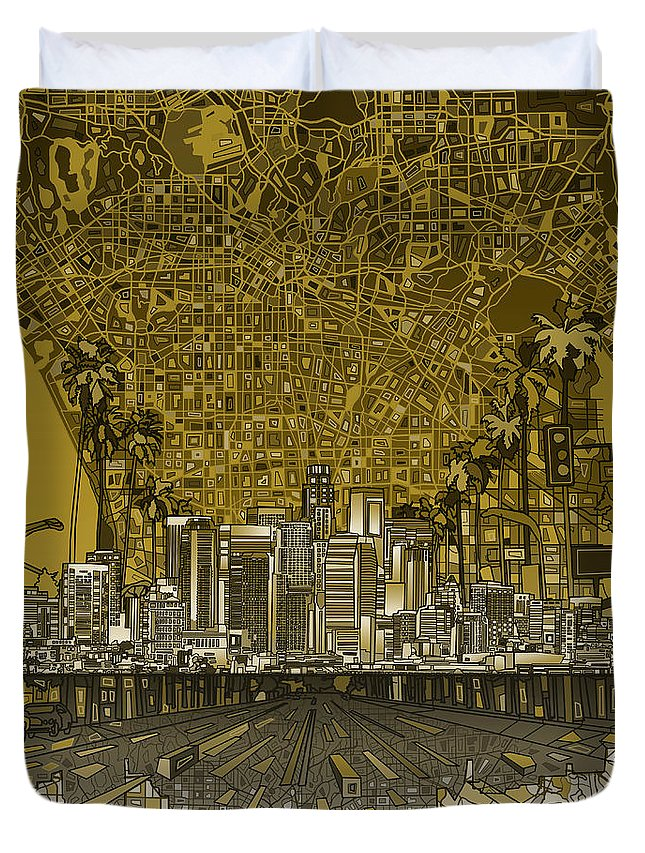 Los Angeles Duvet Cover featuring the painting Los Angeles Skyline Abstract 4 by Bekim Art