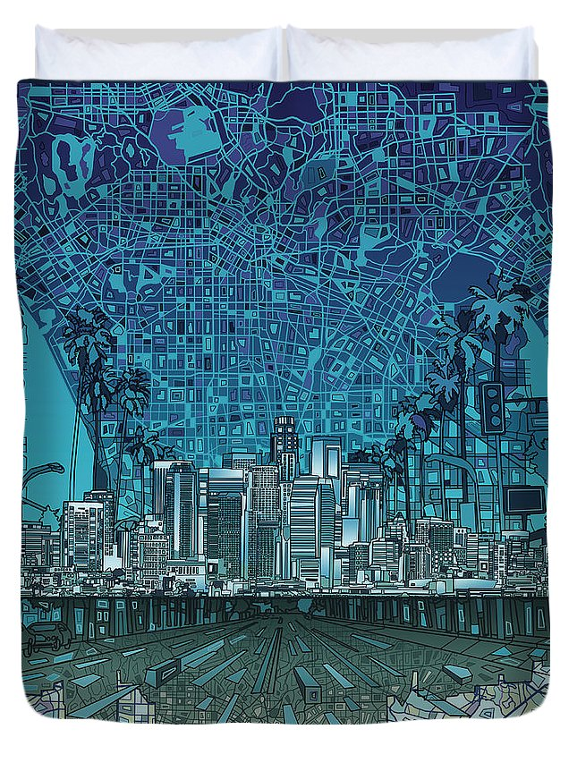 Los Angeles Duvet Cover featuring the painting Los Angeles Skyline Abstract 5 by Bekim Art