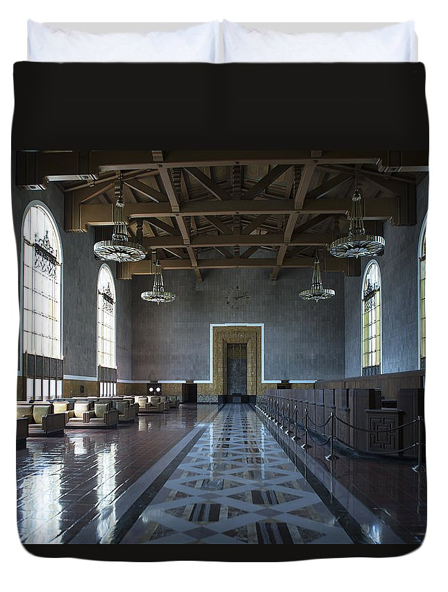Union Station Duvet Cover featuring the photograph Los Angeles Union Station Original Ticket Lobby by Belinda Greb