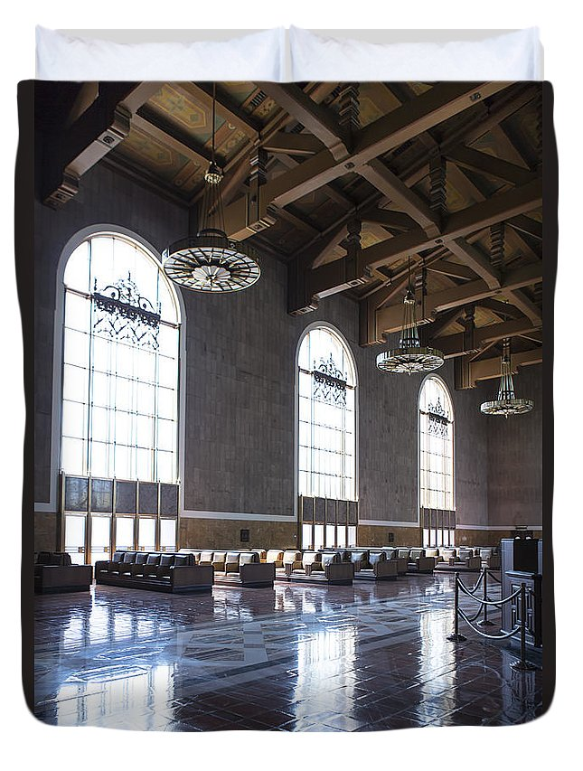Union Station Duvet Cover featuring the photograph Los Angeles Union Station Original Ticket Lobby Vertical by Belinda Greb