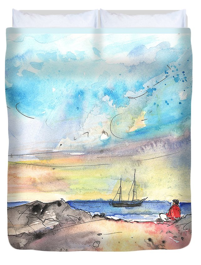 Travel Duvet Cover featuring the painting Los Cristianos 02 by Miki De Goodaboom