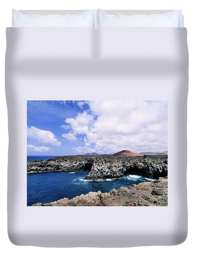 Rocky Duvet Cover featuring the photograph Los Hervideros On Lanzarote by Karol Kozlowski