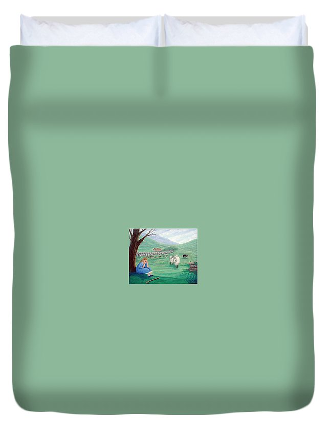 Bo Peep Duvet Cover featuring the painting Lost No More by Fran Brooks