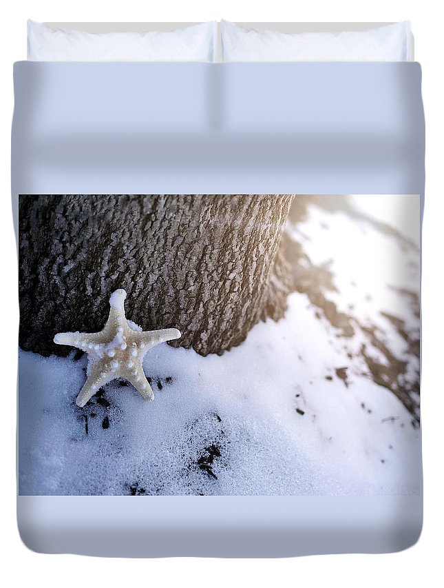 Snow Duvet Cover featuring the photograph Lost by Tina Baxter